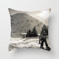 ski Throw Pillows featuring ski by Sébastien BOUVIER