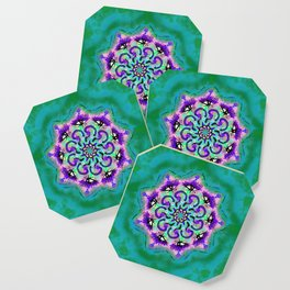 Spider Eye Mandala - Green BG Coaster