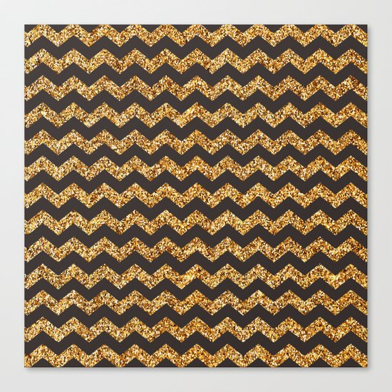 Dark Brown Gold Glitter Chevron Canvas Print