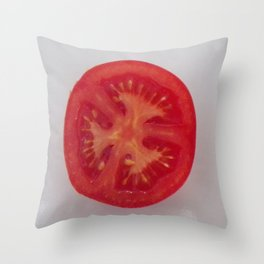 Lovely Red Tomato Sitting On A White Plate, Sliced Red Tomato Throw Pillow