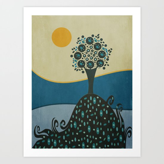 Lone tree in the hills Art Print