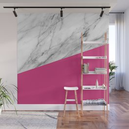 Marble and Pink Yarrow Color Wall Mural
