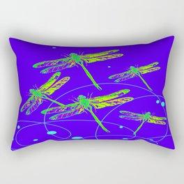 Green-Yellow Swamp Dragonflies Purple-Blue Pattern Abstract  Rectangular Pillow