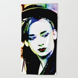 Boy George - Karma Chameleon - Pop Art Beach Towel