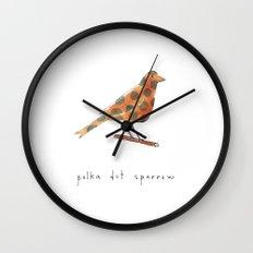 polka dot sparrow Wall Clock