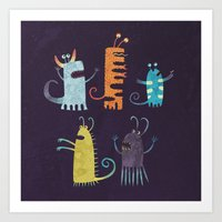 vegetarian Art Prints featuring Secretly Vegetarian Monsters by Nic Squirrell