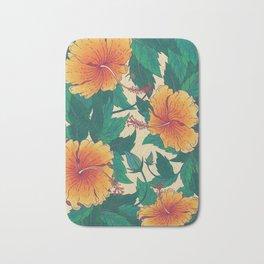 Orange Hibiscus Flowers Bath Mat