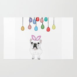 Happy Easter - Frenchie Bunny Rug