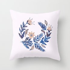 Blue Wreath Throw Pillow