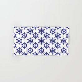 Ship Wheel (Navy Blue & White Pattern) Hand & Bath Towel