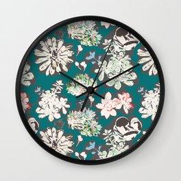 Teal Succulent Pattern Wall Clock