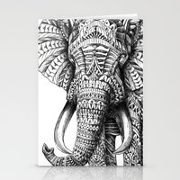 fashion illustration Stationery Cards featuring Ornate Elephant by BIOWORKZ