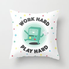 Work Hard, Play BMO Throw Pillow