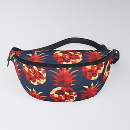 bold fruity red and yellow pineapples pattern against dark background design Fanny Pack