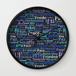 "Pattern with words ""Peace"" in different languages of the World Wall Clock"
