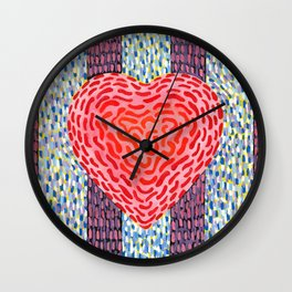 High Energy Squiggle Heart - Impressionist Heart Art Wall Clock