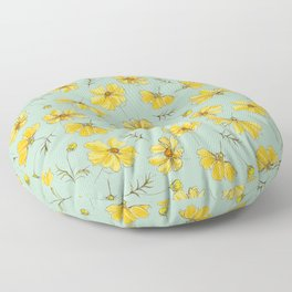 Yellow Cosmos Flower Pattern, Teal Floor Pillow