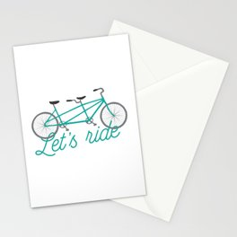 Let's Ride Tandem Bicycle - Teal Stationery Cards
