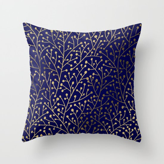 Gold Berry Branches on Navy Throw Pillow by Cat Coquillette Society6
