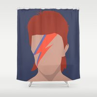 bowie Shower Curtains featuring Bowie by Zoebellsmith