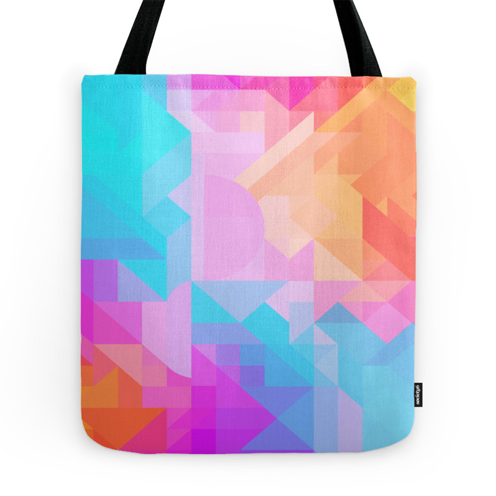 Bright Geometric Colorful Bold Abstract Pattern (Bubblegum Pink, Orange, Yellow, Cyan Blue) Tote Purse by aej_design (TBG7471621) photo