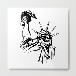 Statue Of Liberty With Face Mask Metal Print