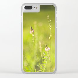 Wild flowers in the green meadow Clear iPhone Case