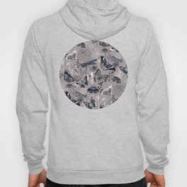 Dragonflies, Butterflies and Moths With Plants on Grey Hoody