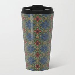 blue and red flowers Metal Travel Mug