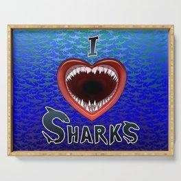 I Love Sharks Jaws Heart. Serving Tray