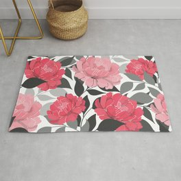 Blush and Bashful Flower Pattern on Black and White Rug