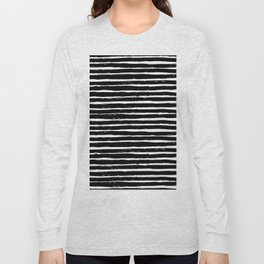 Black white abstract simple stripes motif Long Sleeve T-shirt