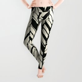 black and white feather texture Leggings