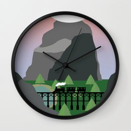 Train in valley Wall Clock
