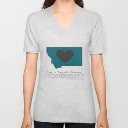 """""""I am in love with Montana"""" - teal Unisex V-Neck"""