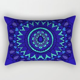 Hand- Drawn Bohemian Mandala in Sapphire Blue Rectangular Pillow