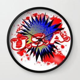 USA Comic Exclamation Wall Clock