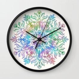 Nature Mandala in Rainbow Hues Wall Clock