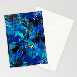 Ripples (Blue, White, Black & Gold Acrylic - Repeat Pattern) Stationery Cards