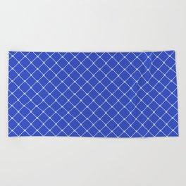 GRID, Royal Blue Light Classic Diagonal Grid Beach Towel