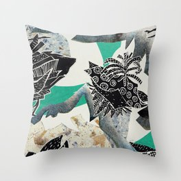 Blue Botanical Throw Pillow