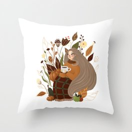 Cozy Autumn Girl Throw Pillow