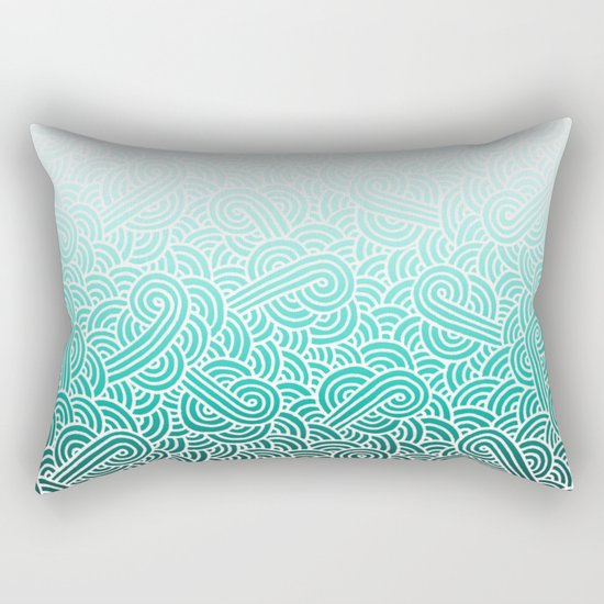 Ombre turquoise blue and white swirls doodles Rectangular Pillow