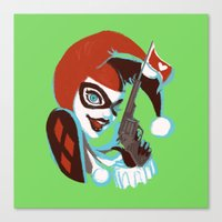 harley quinn Canvas Prints featuring Harley Quinn by Piano Bandit