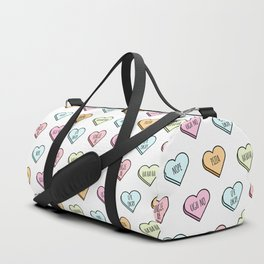 Sassy Valentines Candy Heart Pattern Duffle Bag