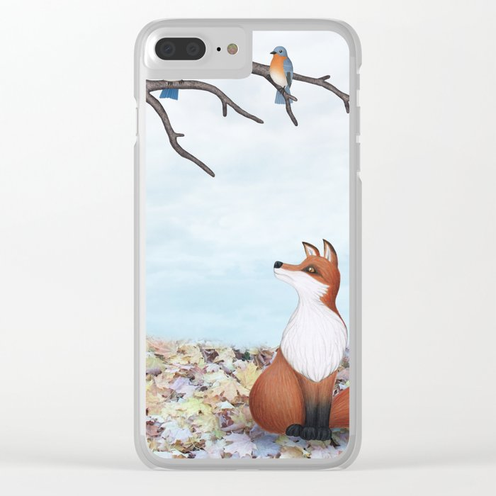 fox and eastern bluebirds Clear iPhone Case