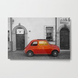 Red Italian car in Rimini Black and White Photography Metal Print
