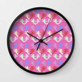 colorful cherubs pink Wall Clock
