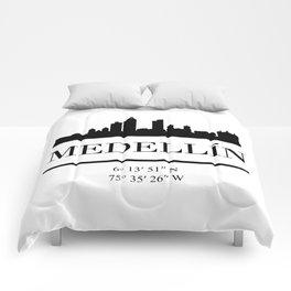MEDELLIN COLOMBIA BLACK SILHOUETTE SKYLINE ART Comforters