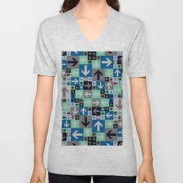 Arrow Pattern Blue Green Gray Unisex V-Neck